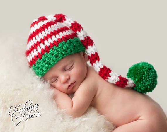 Newborn christmas hat crochet stocking cap baby boy prop baby girl prop newborn pixie hat baby elf hat 2 week turn around newborn baby