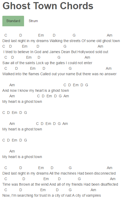 Ghost Town Chords Adam Lambert | Songs to Learn | Pinterest | Ghost ...