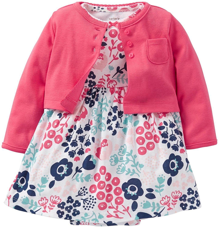 Carter s Baby Girls 2 Piece Dress Set Baby Pink 6 Months