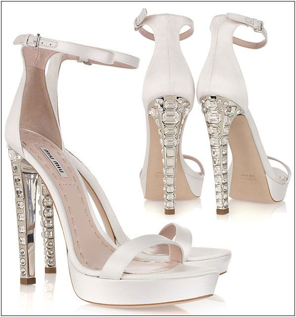 Miu White Silk Satin Crystal Heeled Sandals Sparkly Wedding Shoesbridal
