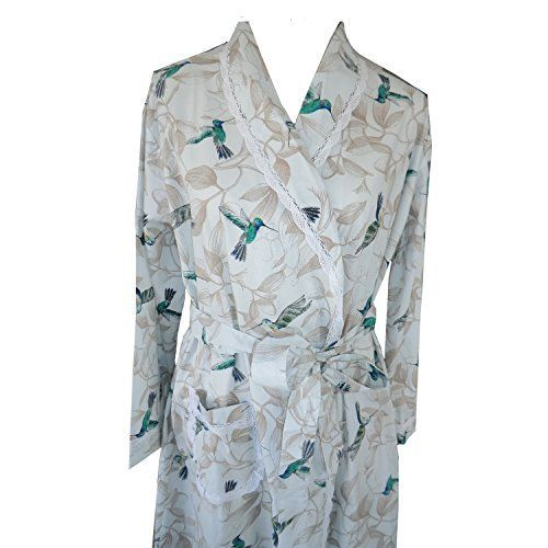 Clara Long Sleeve Cotton Robe With Lovely Hummingbird