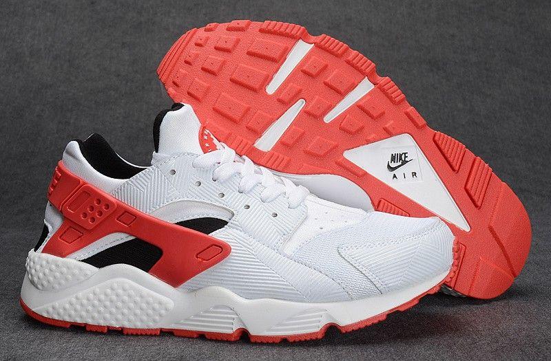 Women/Men Nike Air Huarache Run 654275-102 White/Gym Red/Bright