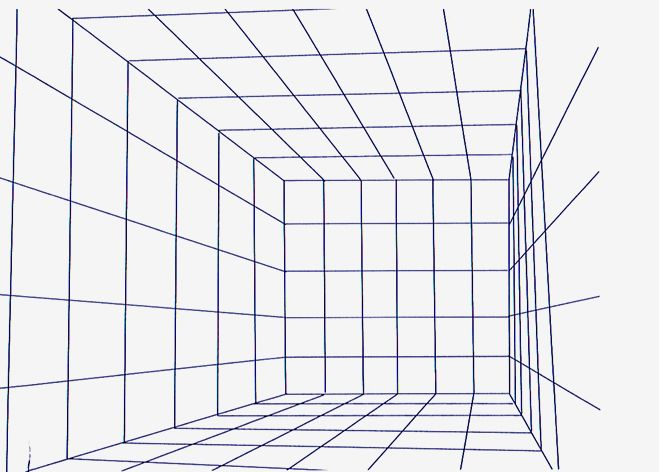 Draw one point perspective grids sketching painting for Room design template grid