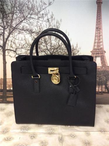6dd80a788e64 NWT-358-Michael-Kors-Black-Hamilton-NS-Tote-Bag-Saffiano-Leather-Handbag- Purse
