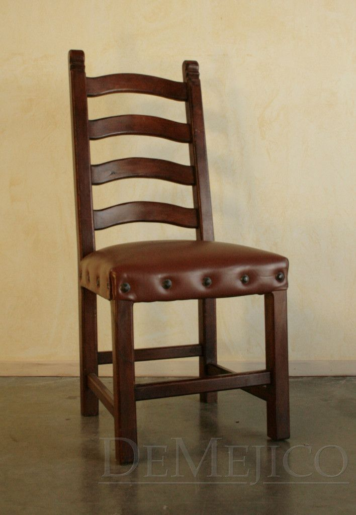 Silla San Miguel Ladder Back Chair With Leather Seat Demejico Ladder Back Chairs Chair Spanish Style Furniture