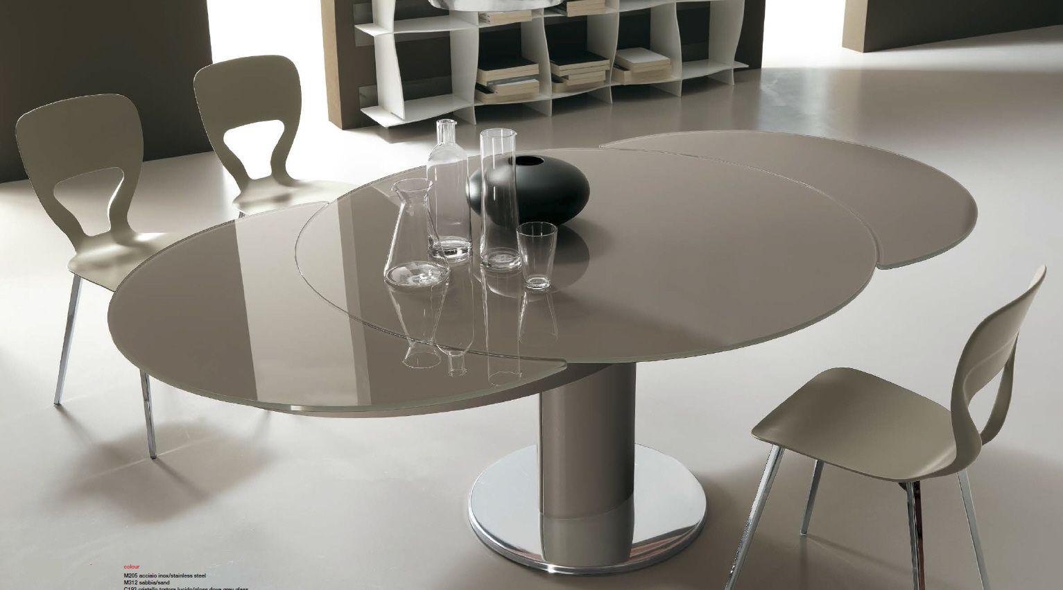 W Mega Włoskie nowoczesne szklane okrągłe stoły rozkładane ROT 130-210 cm CW31
