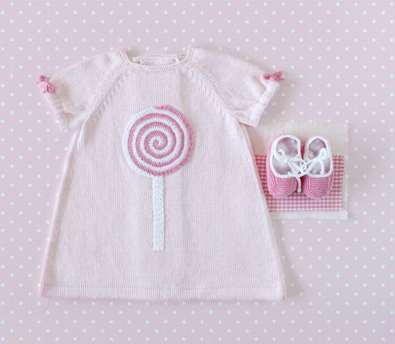 5d7f883e9 Knitted baby dress pink with a crochet lollipop. 100% cotton. READY ...