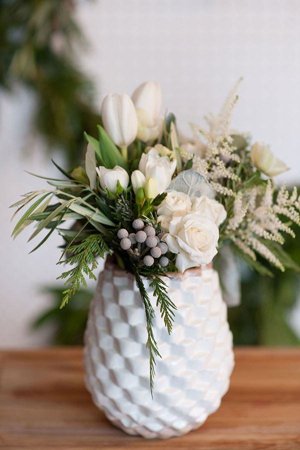 Winter Floral Arrangement With A Mid Century Modern Vibe Photo By Tara Wh Winter Floral Arrangements Winter Flower Arrangements Birthday Flowers Arrangements