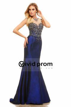 2015 Romantic Bateau Beaded Prom Dress Mermaid Sweep Train Taffeta USD 230.99 VVPPSKFKDE3 - VividProm.com