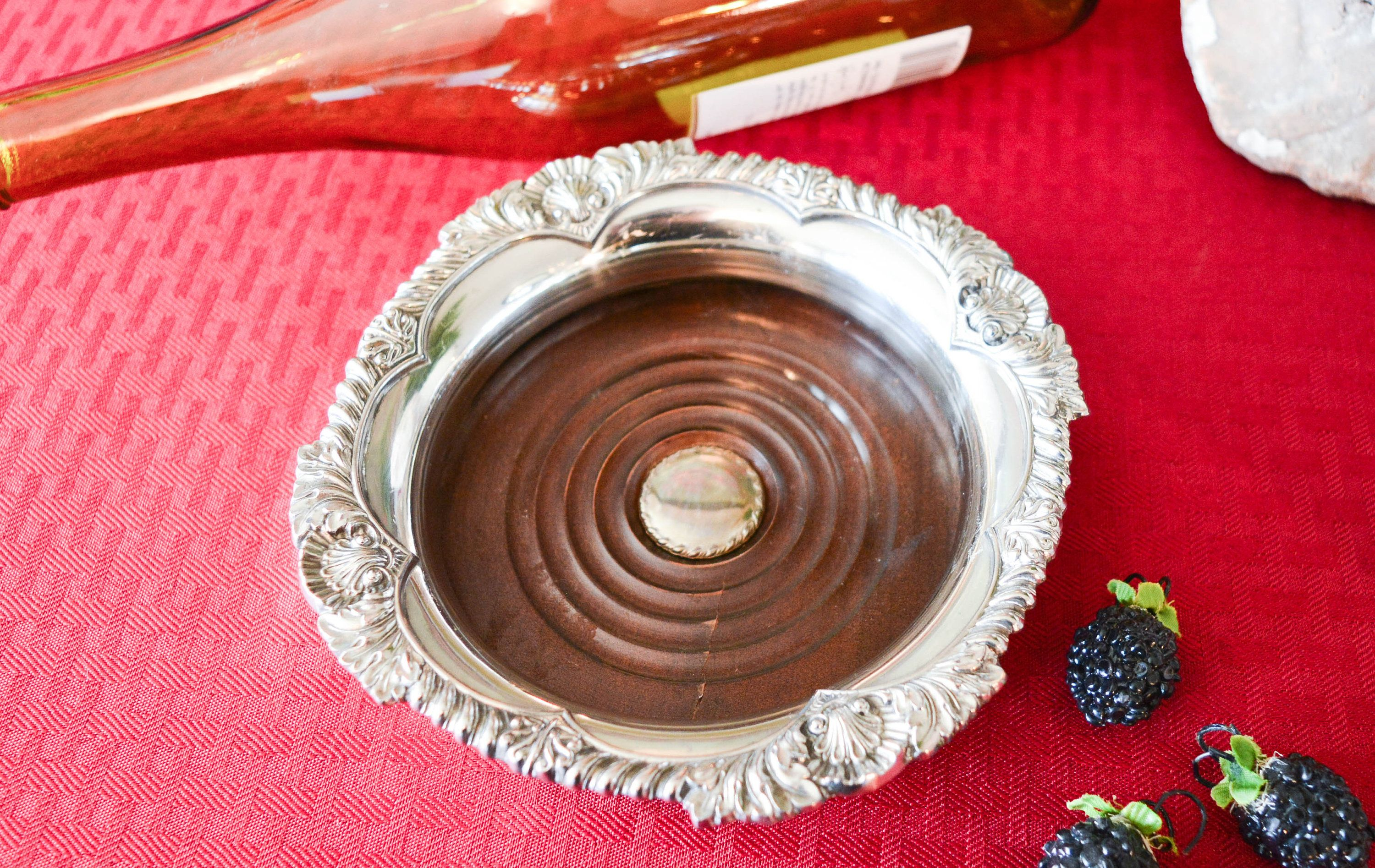 Corbell Silver Plate Bottle Coaster With Wooden Base Shell Etsy In 2020 Silver Coasters Silver Plate Coasters