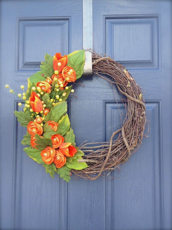 Orange Spring Wreath Orange Colored Wreath by WreathsByRebeccaB