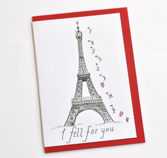 French Valentine Paris Greeting Card Eiffel Tower Love – French Valentines Cards