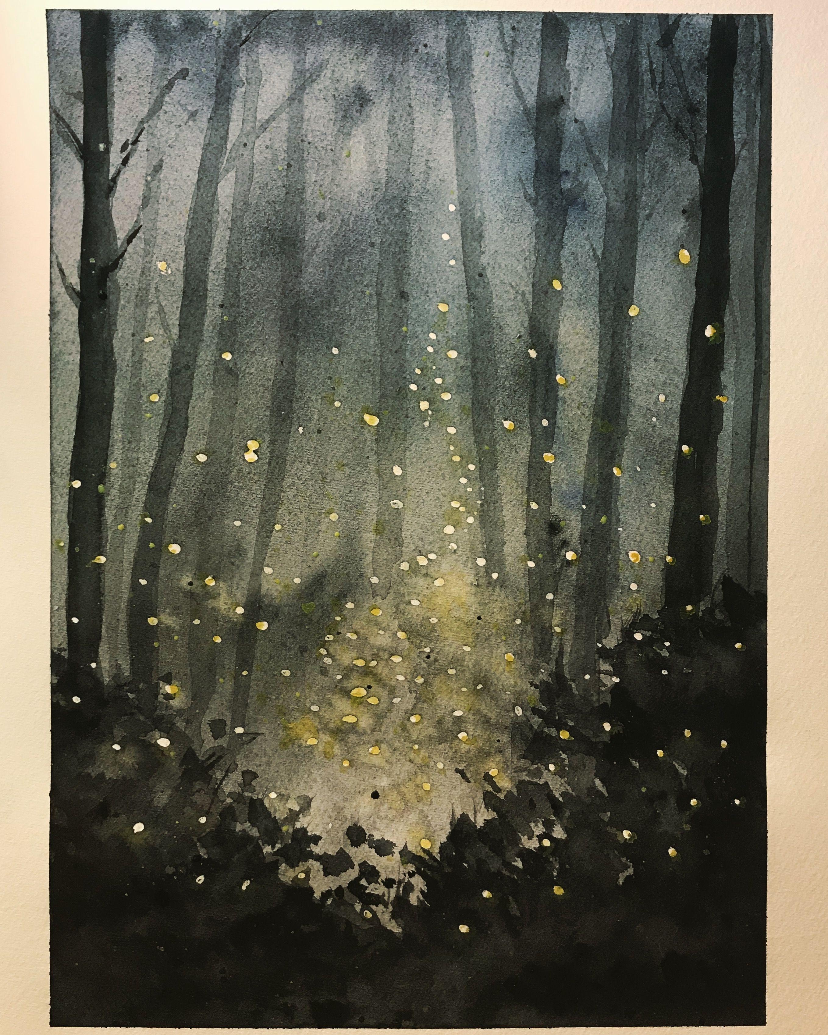 Fireflies Nightscape Watercolor Watercolorart Watercoloring Firefly Painting Watercolor Painting Techniques Firefly Art