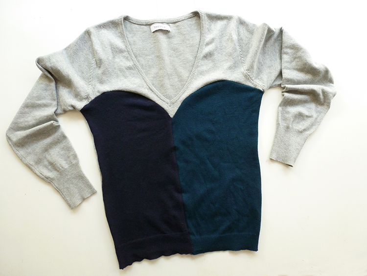 Mix your old sweaters and make a Colorblocked one!! EASY DIY :)
