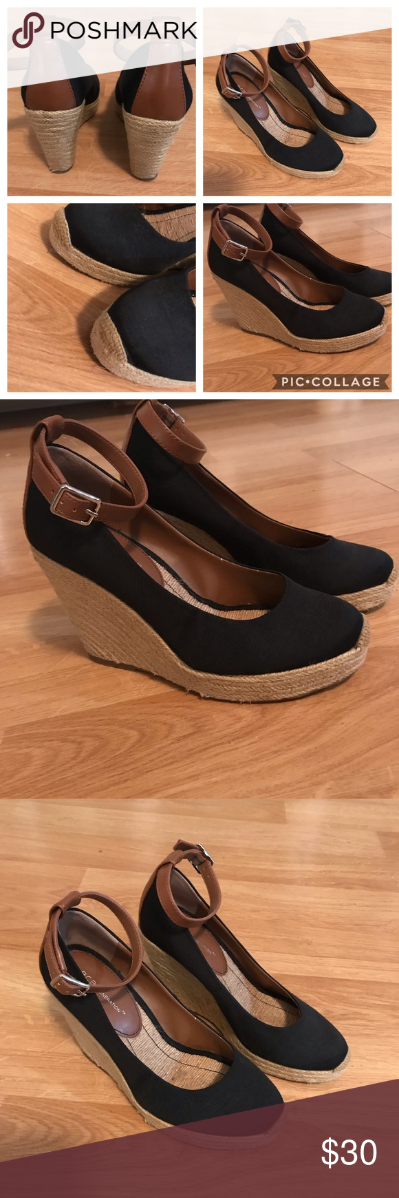 a69003c38a Black Espadrille Wedge Shoes sz 9 BCBG Generation Classy espadrilles. High  wedge. Sz 9. Black w tan strap and faux leather on back heel. Classy.