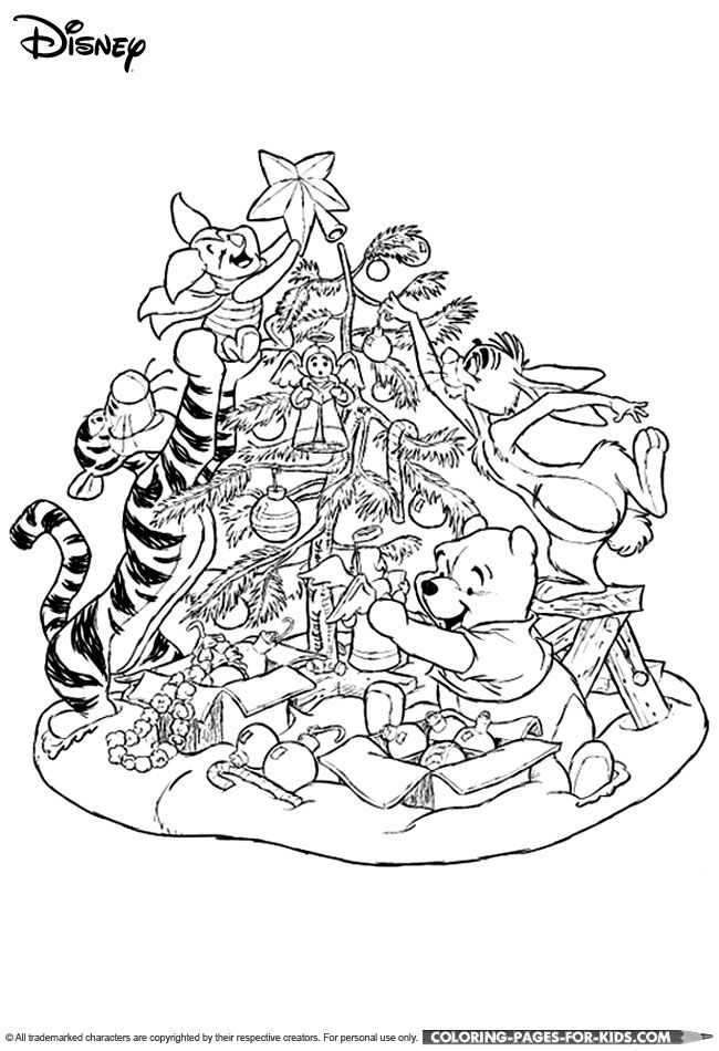 Winnie The Pooh Christmas Decorating Coloring Page For Kids