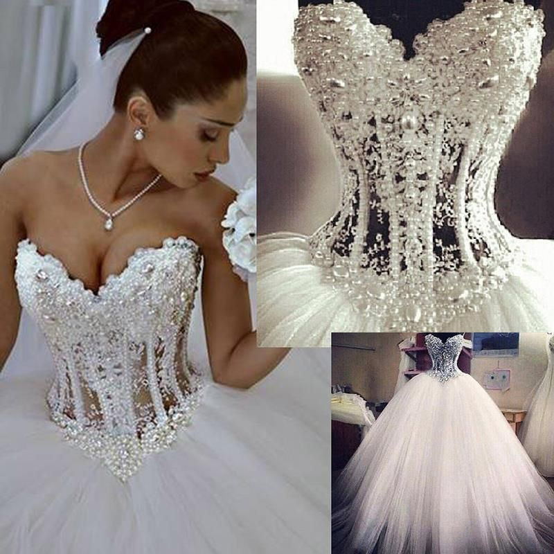 Luxurious Bling Strapless Wedding Dresses Sweetheart Corset Bridal Ball Crystal Pearl Beads Rhinestones Tulle Gowns