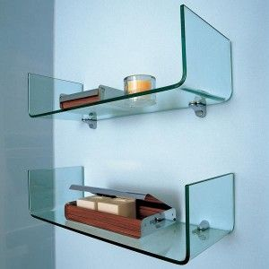 A Little Futuristic But I Still Love It Glass Shelves In Bathroom