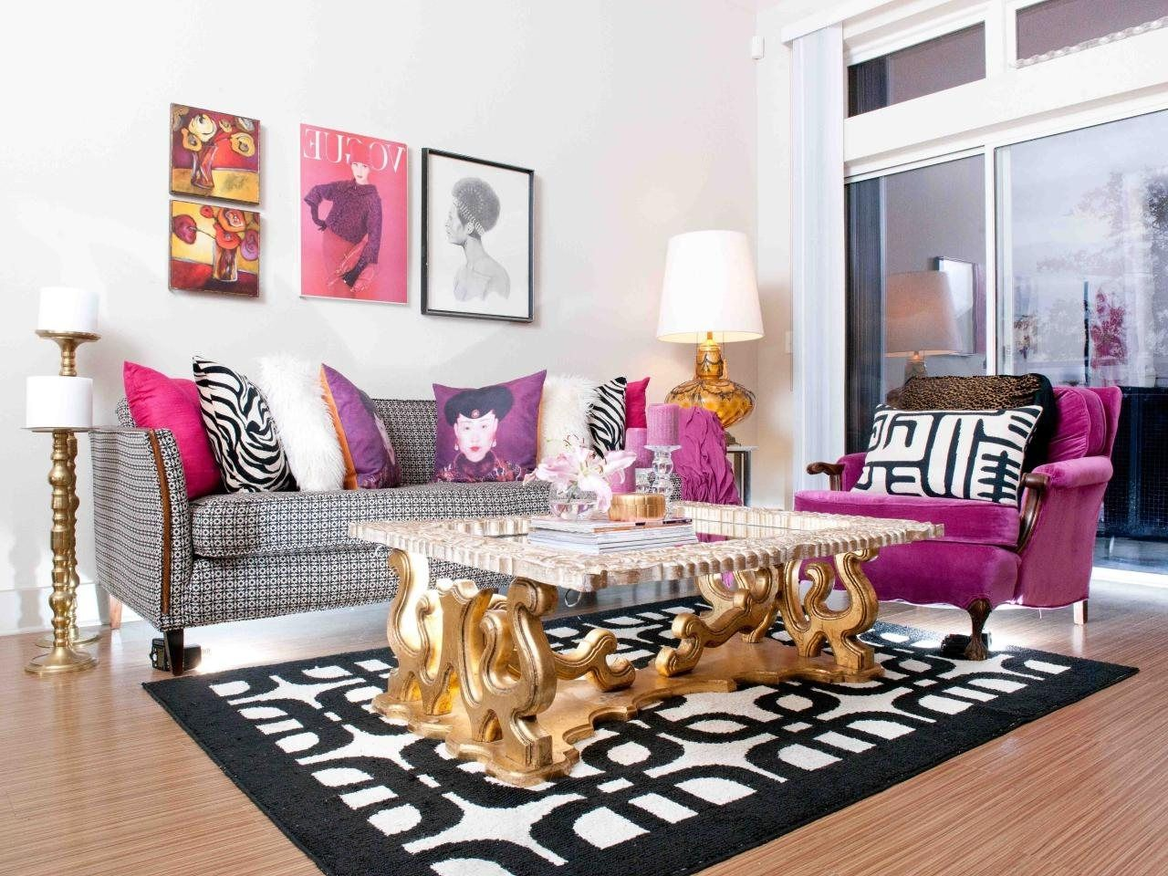 Pink White And Black Living Room | Black and gold living ...