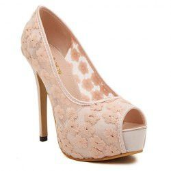 Sweet Women's Peep Toed Shoes With Flower Pattern and Mesh Design