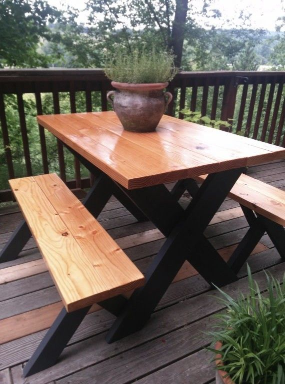 Classic Picnic Table W Black Legs Bench Pinterest Picnic - How to stain a picnic table