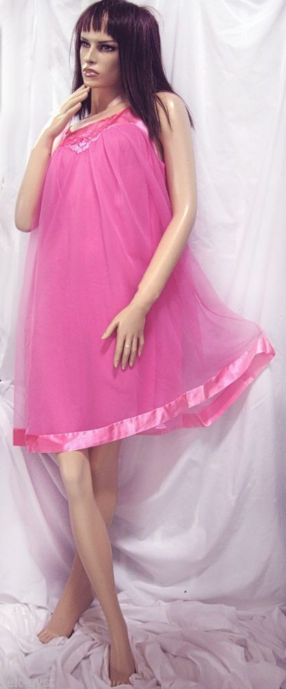 VTG GOSSARD ARTEMIS HOT PINK DOUBLE LAYER SHEER NYLON SATIN EMBROIDERED GOWN-M