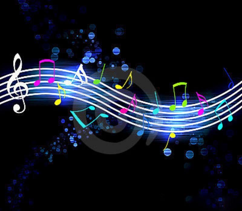Pianosoftware music wallpapers amusic cute180 pinterest photo about glowing music notes on black background 10408909 voltagebd Images