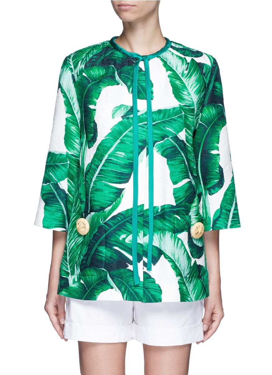 0326bbc3 DOLCE & GABBANA Banana Leaf Print Brocade Jacket. #dolcegabbana #cloth # jacket