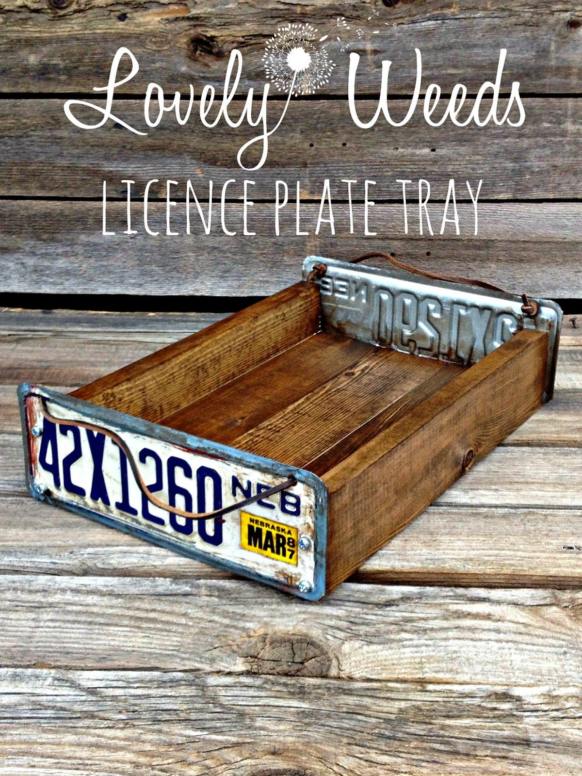 Salvaged License Plate Tray   Lovely Weeds