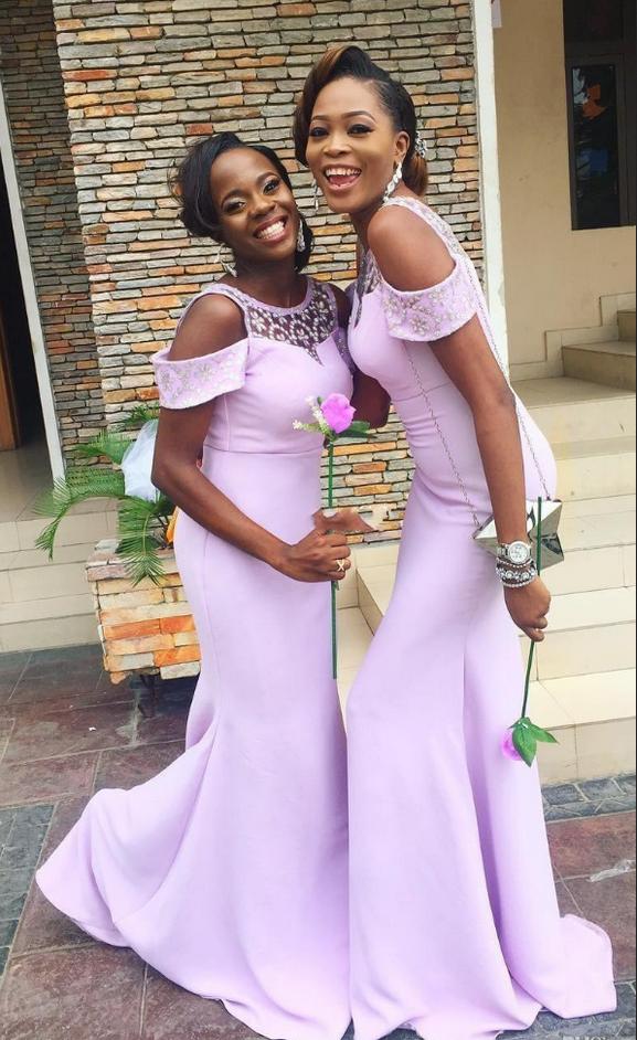 Modern Lavender Mermaid Bridesmaid Dresses Cap Sleeves Beaded #prom ...