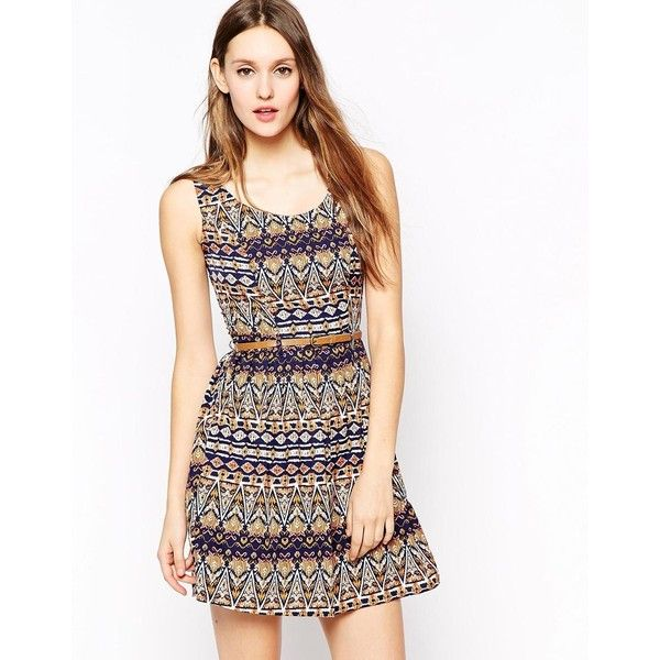 Yumi Belted Dress in Aztec Print ($20) ❤ liked on Polyvore ...