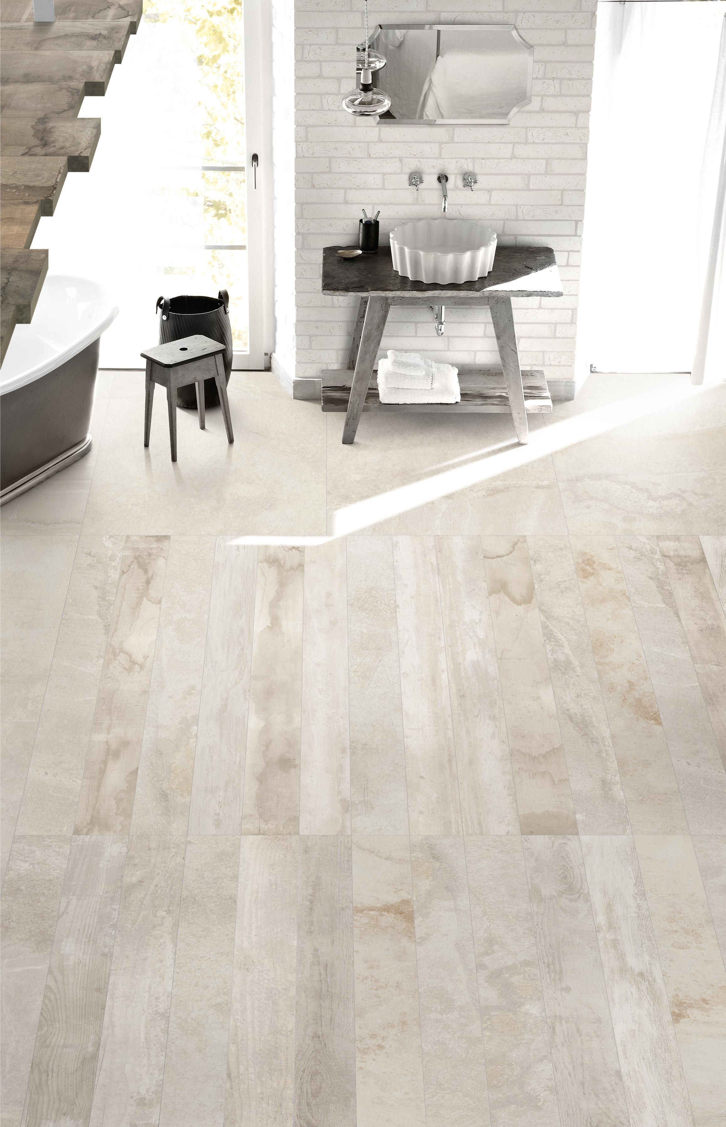 inessence porcelain floor tile in sabbia mix 6x48. http://www