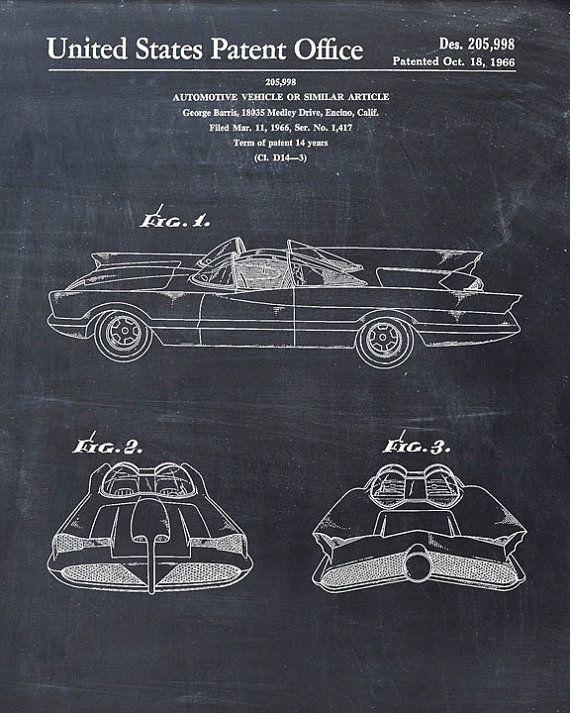 Cool Batman Gifts George Barris 1966 Bat-mobile Patent Print Art Drawing Present