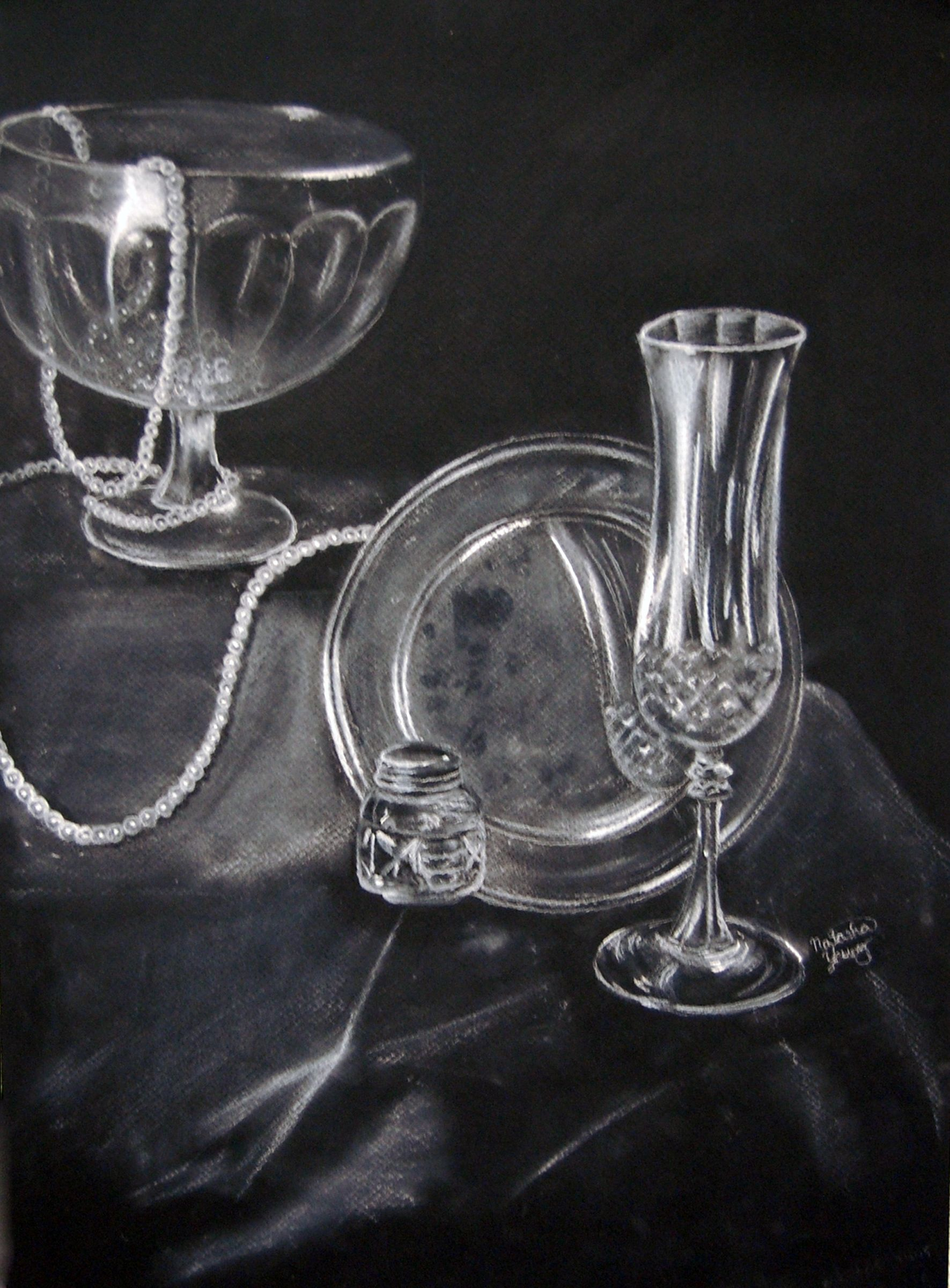 Drawing Glass Bottles With Oil Pastel On Black Paper