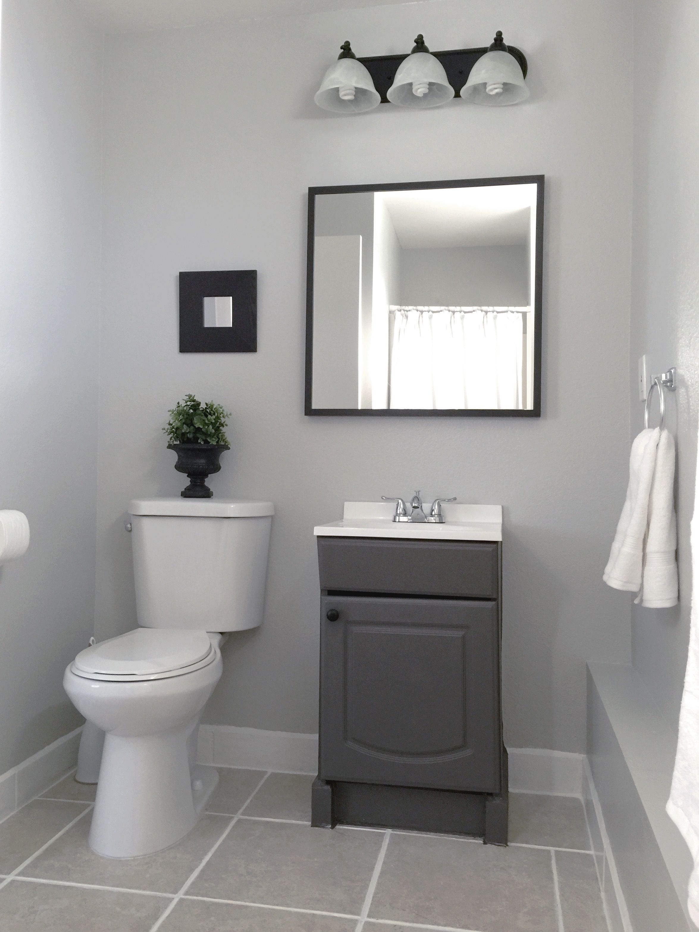 Small Garage Bathroom Painted Vanity Wall Behr Dolphin Fin Gray Wall Light Fixtur Small Bathroom Colors Painting Bathroom Bathroom Paint Colors Behr