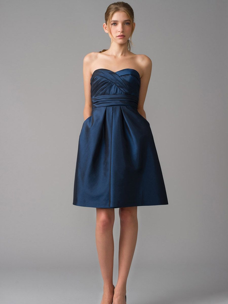 Blue strapless cocktail dressnavy strapless ruched taffeta bodice a