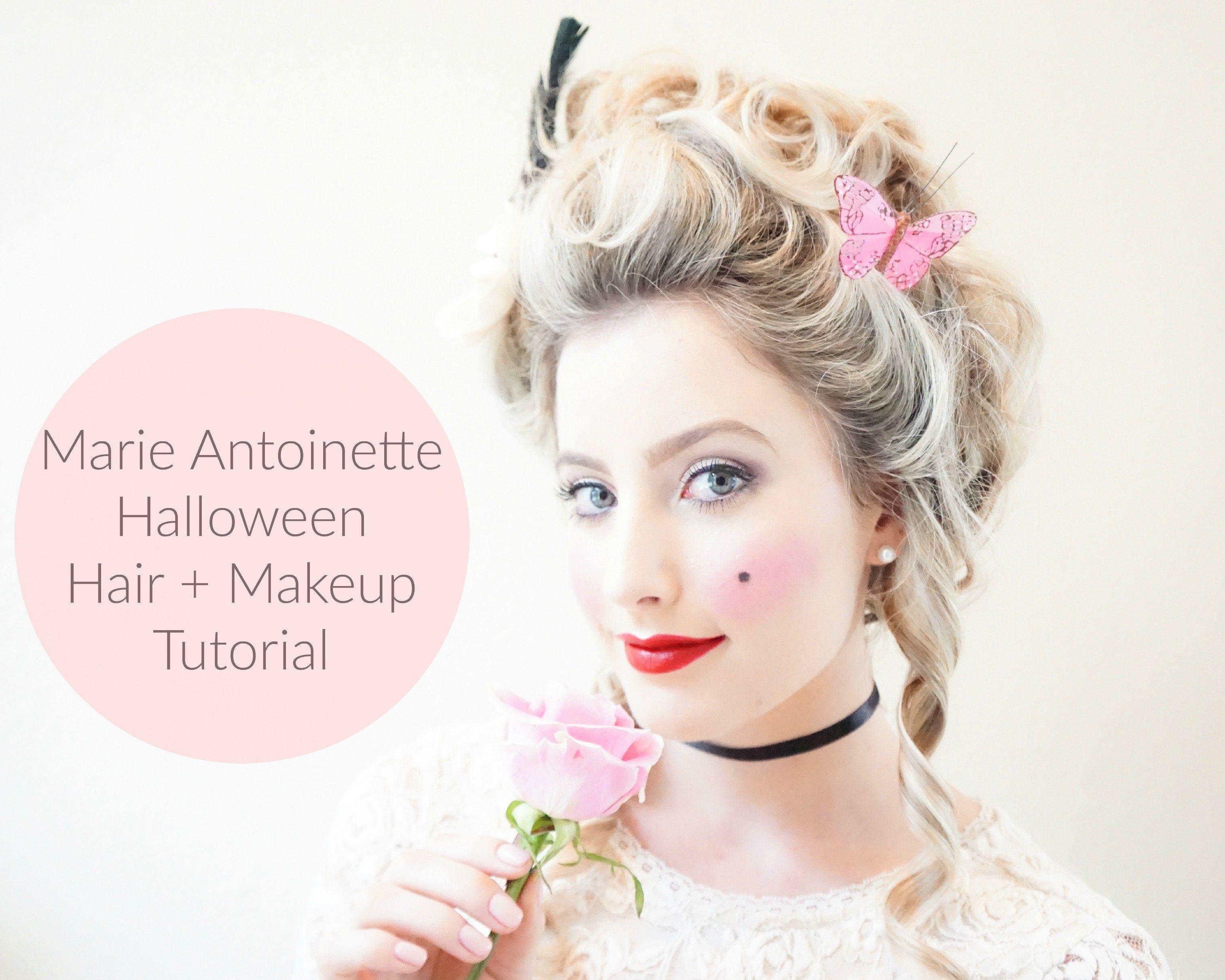 Marie Antoinette Halloween Hair Makeup Tutorial