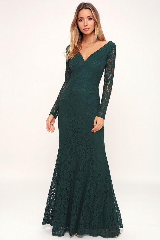Lulus   Natural Beauty Forest Green Lace