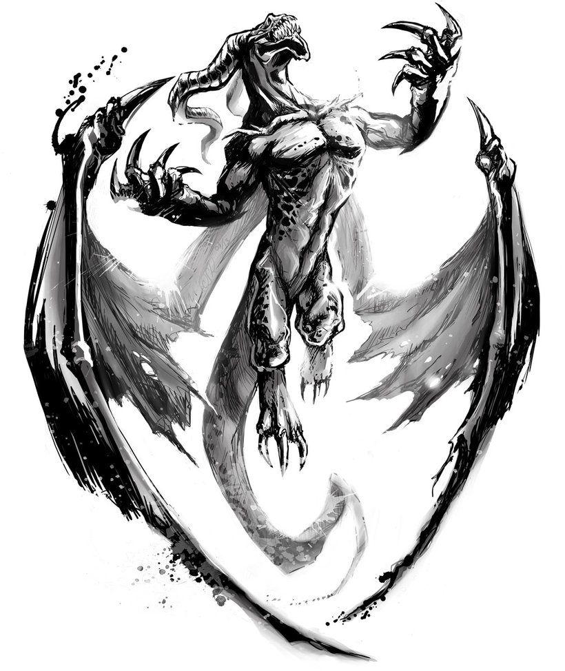 Types Of Dragon Tattoo Ideas: Winged Dragon Tattoo Drawings