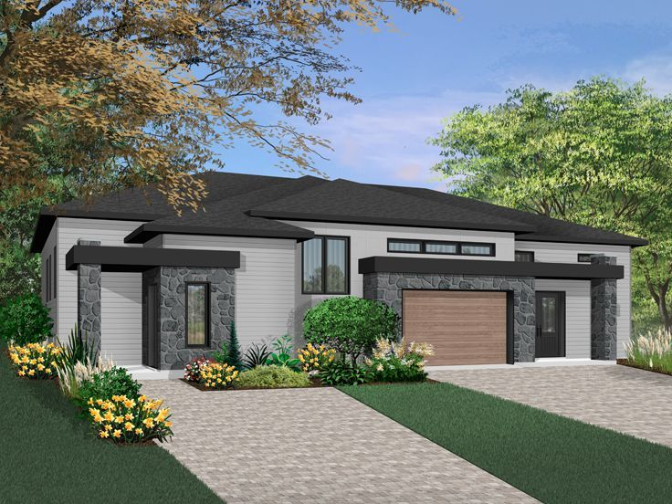 027M-0076: Contemporary Duplex House Plan with 2 Different ...