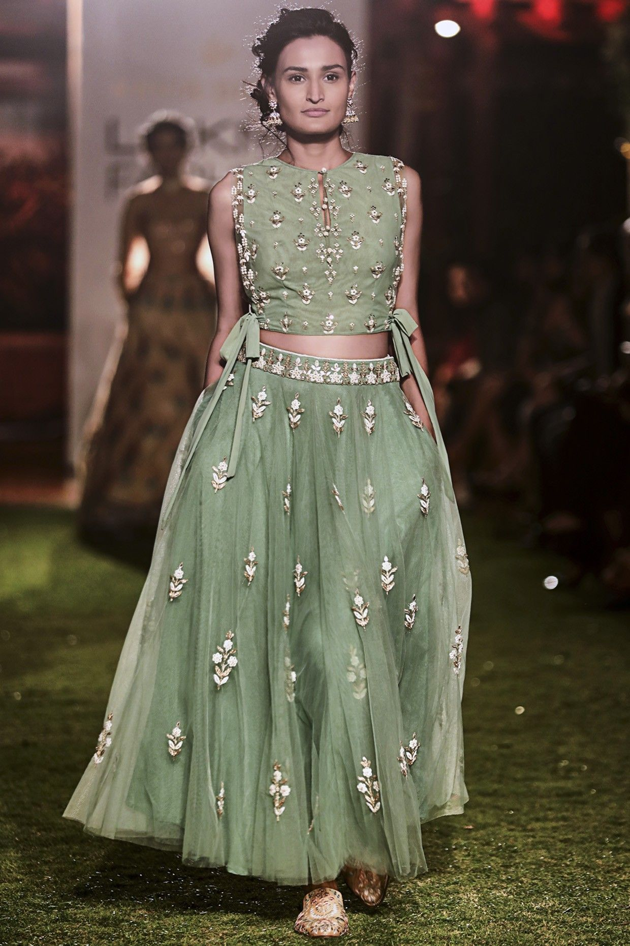Anita Dongre Sage Green Embroidered Crop Top And Skirt Set Shop Now Anitadogre Sagegreen Designer Blouse Patterns Designer Dresses Lehenga Blouse Designs