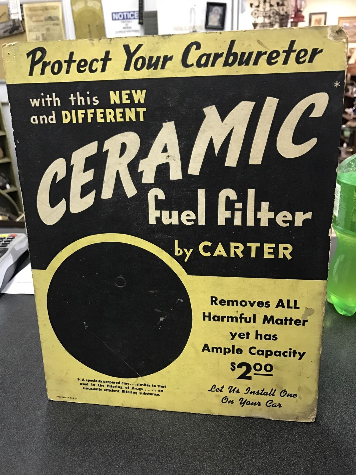 Vintage Carter Ceramic Fuel Filter Counter Display Games Filters