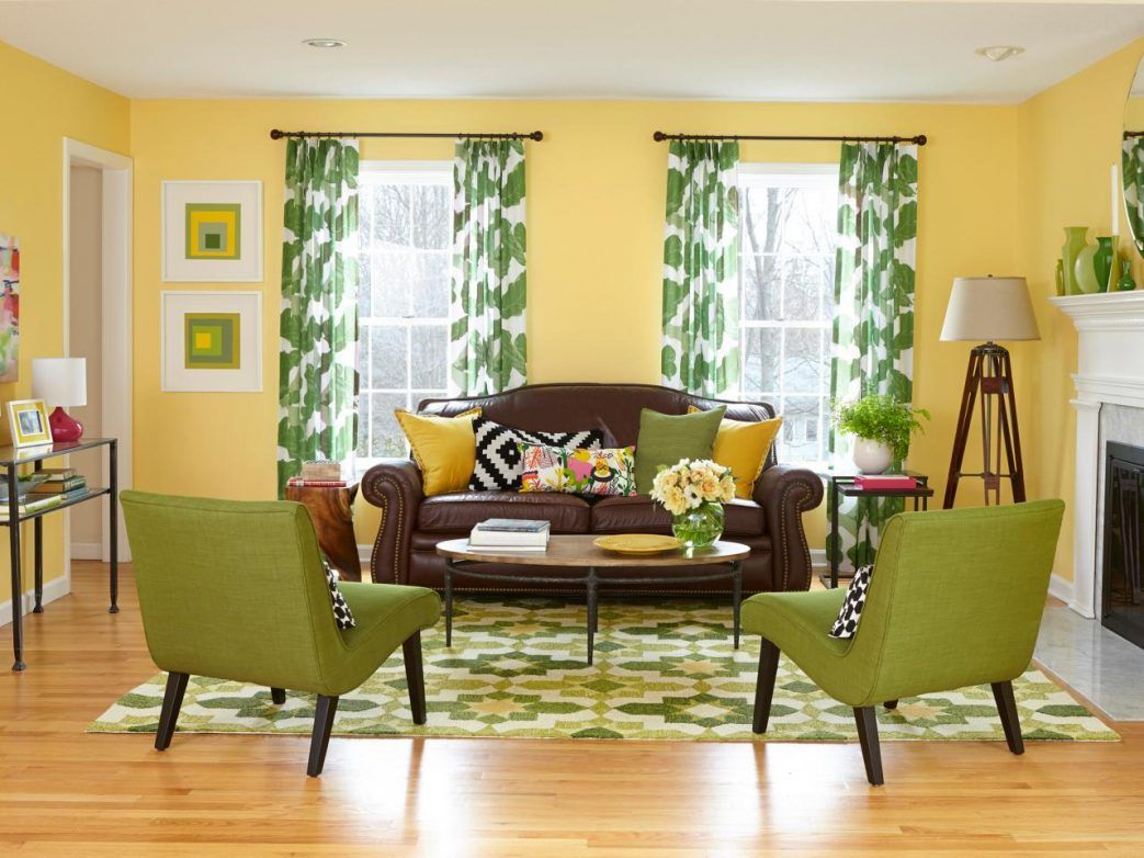 Yellow and green theme living room  Brown living room decor