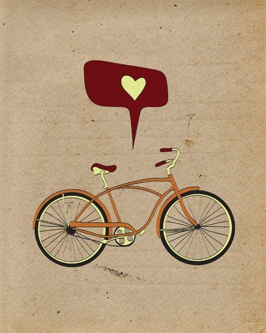 Bicycle Print Art / Bike Poster, 8x10 Antique Bike Print, Retro Old School Cycling, Vintage Bicycle Decor. $19.00, via Etsy.