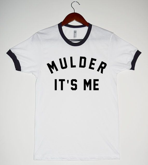 8345ebf453c6 MULDER IT S ME White Ringer Shirt. X-Files Shirts. Scully Fox Mulder ...