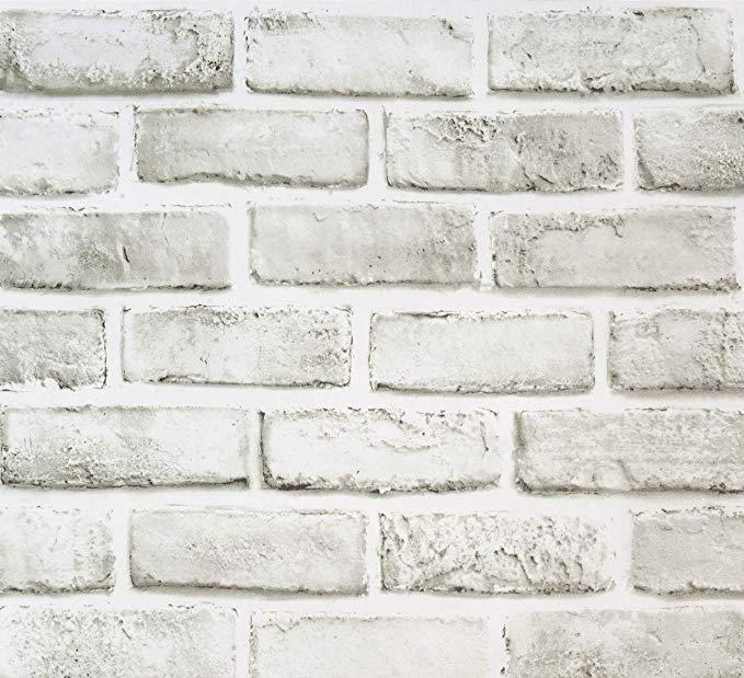 Amazon Com Brick Contact Paper 17 71 X118 White Grey Self Adhesive Wallpaper Removable Brick Peel Wallpaper Shelves Brick Wallpaper Self Adhesive Wallpaper