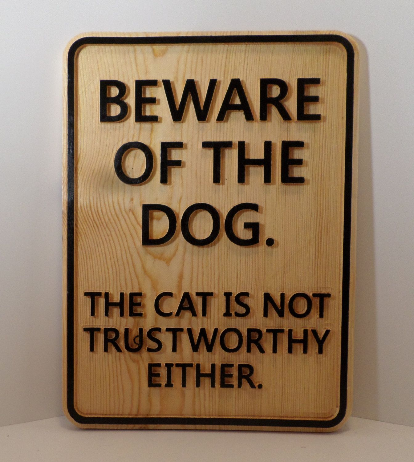 Beware Of The Dog Cat Not Trustworthy Metal Sign Hanging Stocking Filler Paws