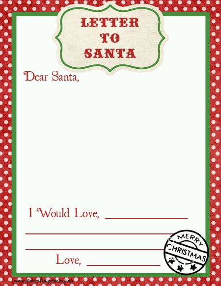 Letter To Santa Free Printable Download  Santa Advent Calendars