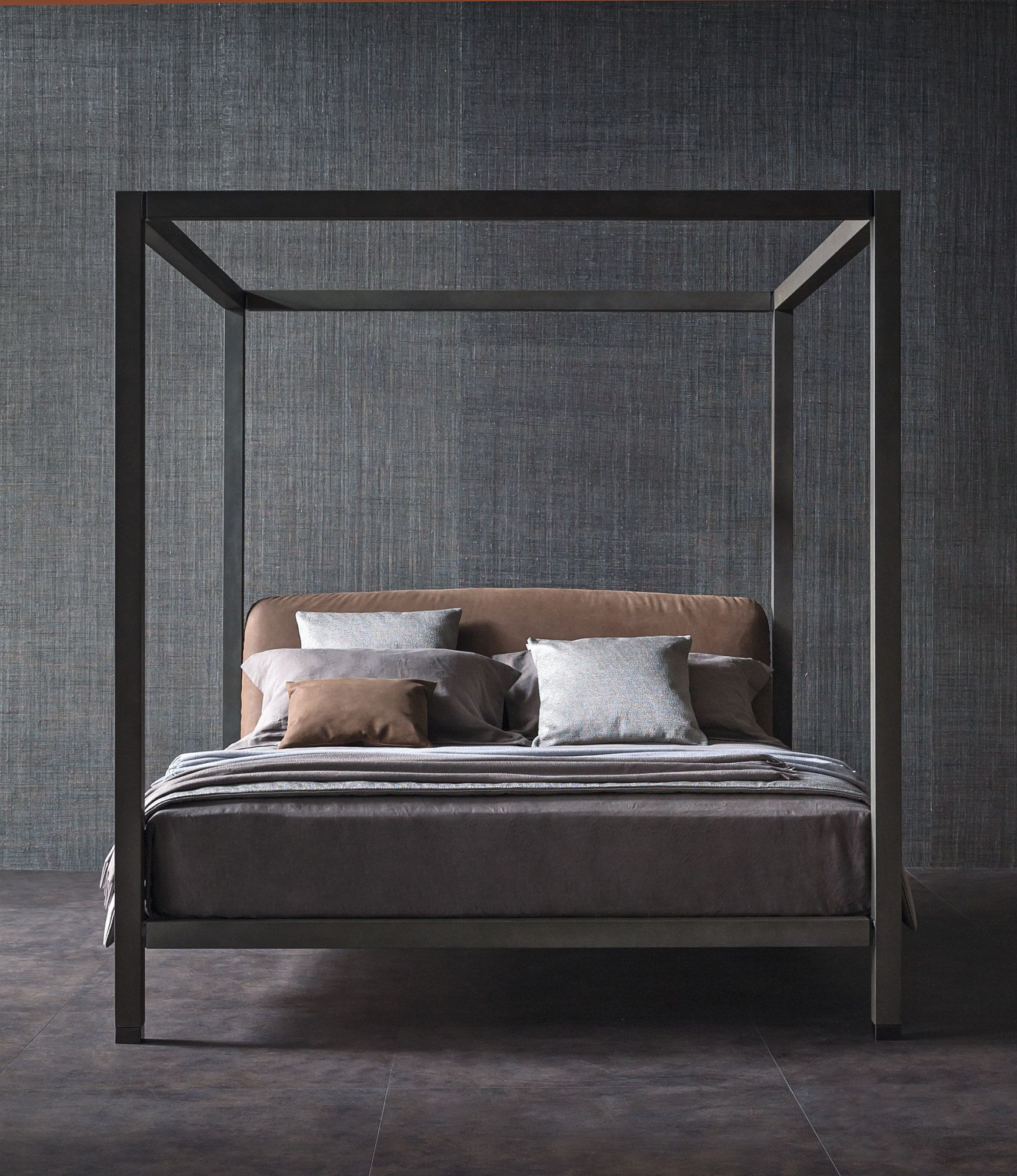 Wooden bed with upholstered headboard ari canopy bed for High end canopy beds
