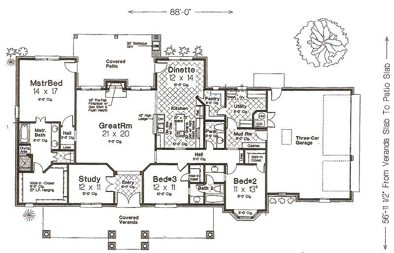 Traditional Style House Plan 3 Beds 2 5 Baths 2341 Sq Ft Plan 310 960 Craftsman Floor Plans House Plans House Floor Plans